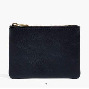 Black leather Madewell zip wallet